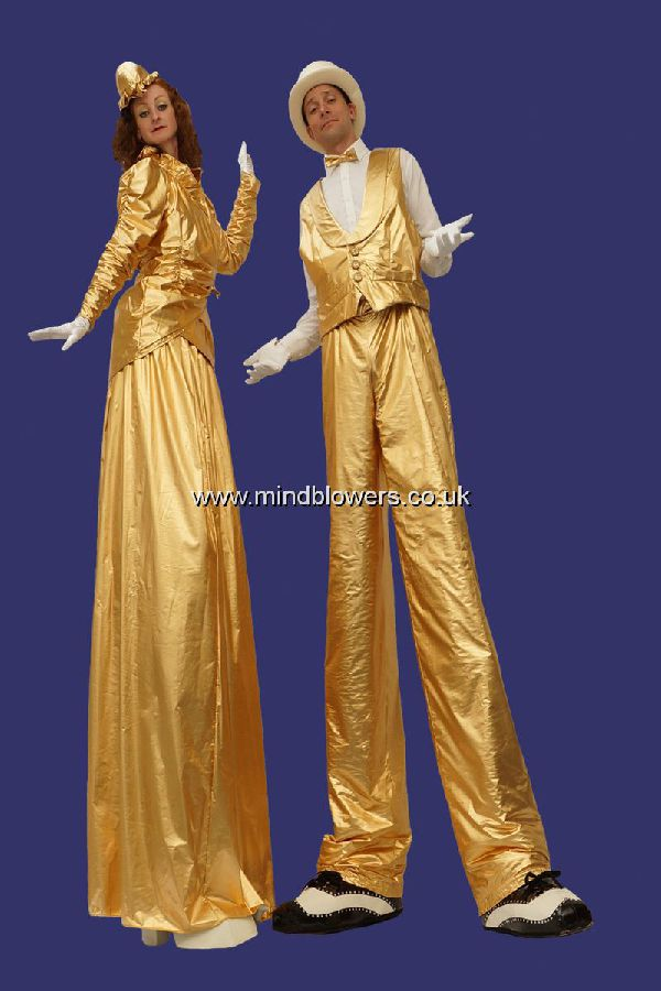 Gold Stilt Walking Lady and Gent