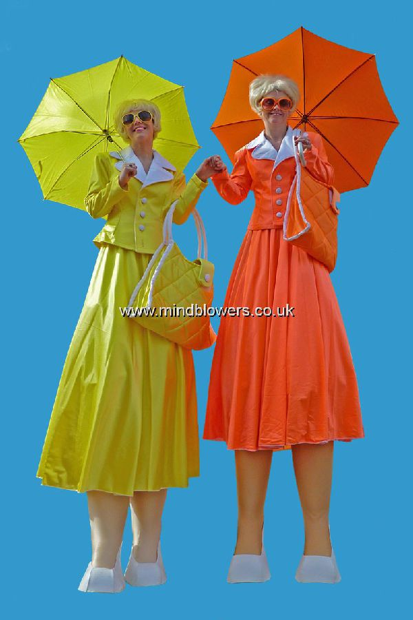 1950s - 1960s Ladies Than Lunch Stilt Walkers