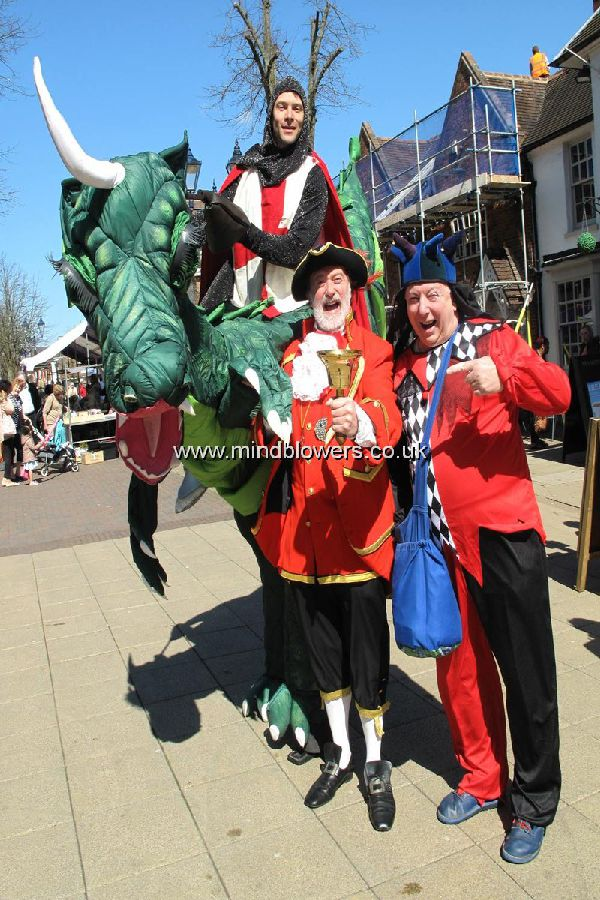 St George and Dragon Stilt Walker