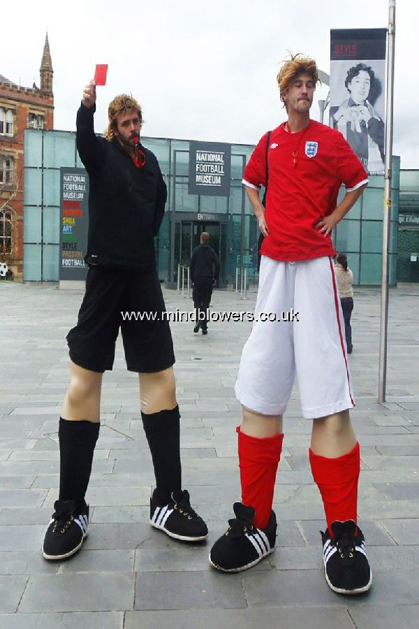 Football Referee and Footballer Stilt Walkers